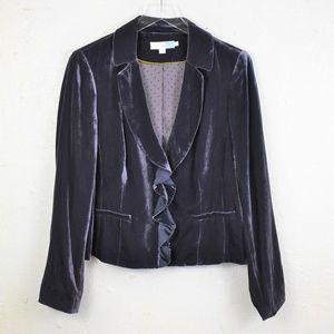 Boden Purple Velvet Fitted Ruffle Blazer Size 12